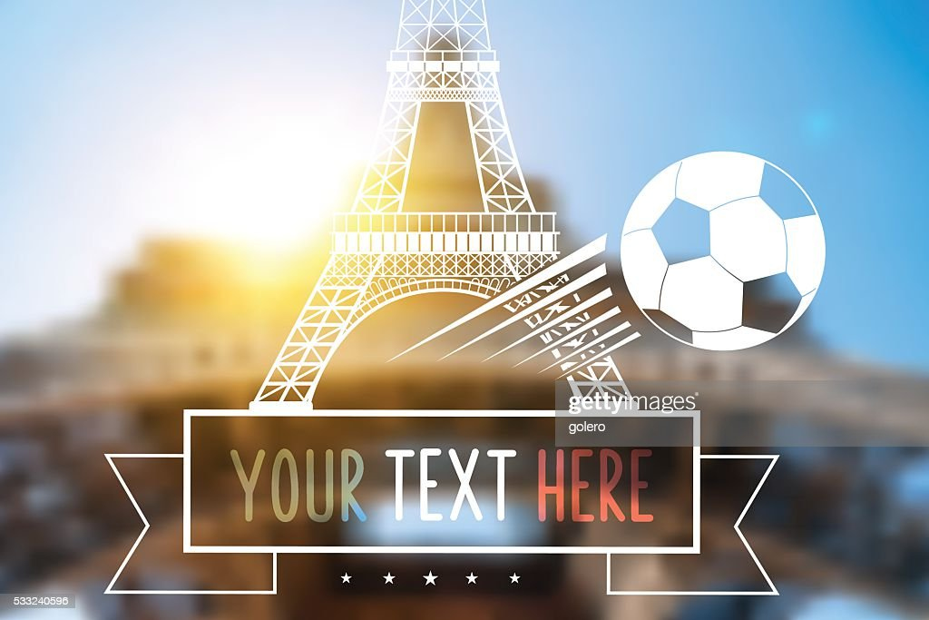 blurred background with Eiffel Tower and soccer ball