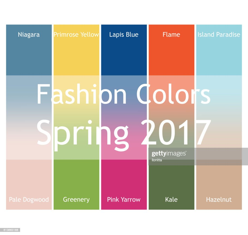 Blurred fashion infographic with trendy colors of the 2017 Spring.