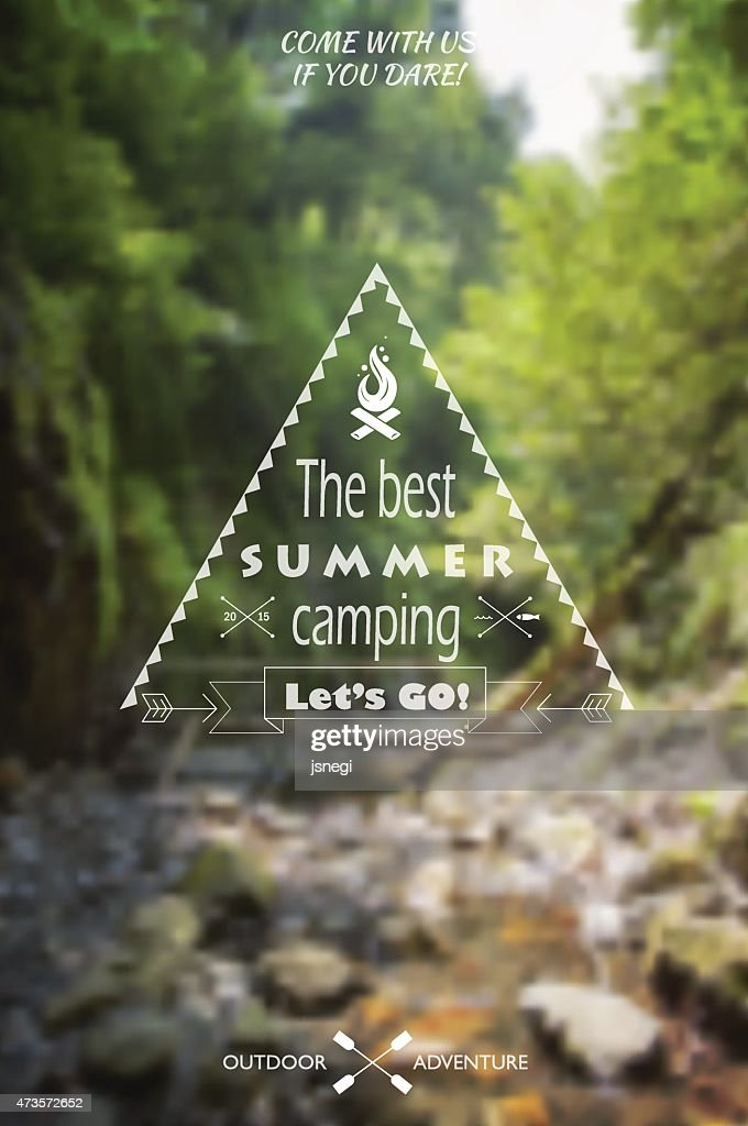 Blurred landscape background with camp label.