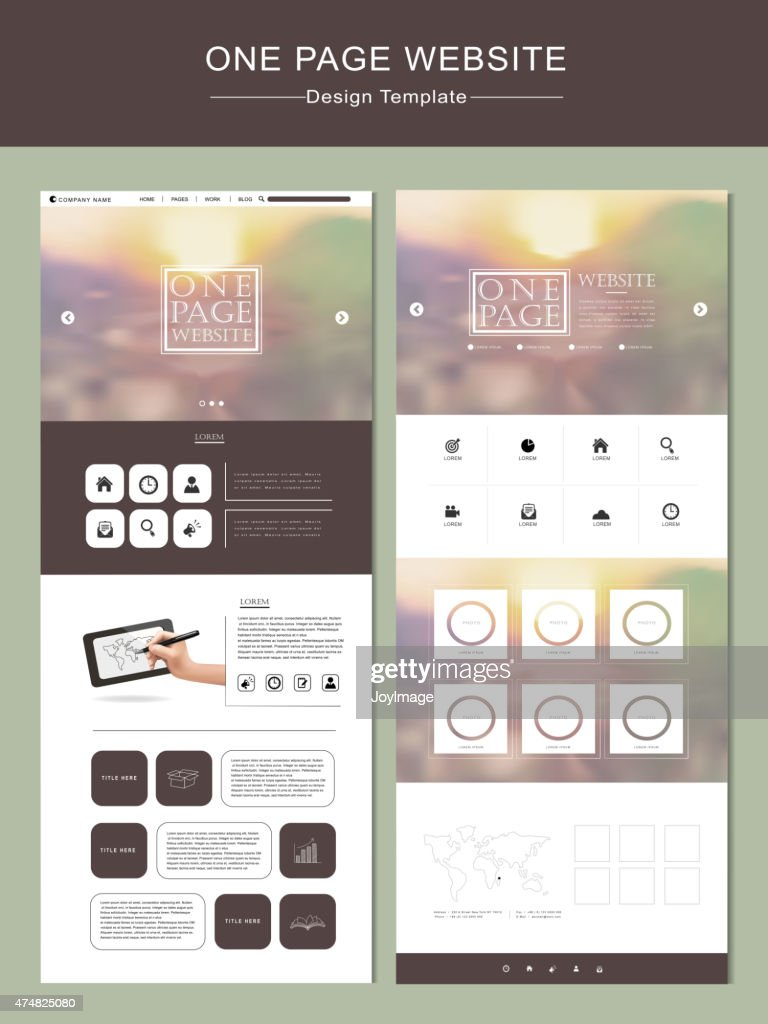 blurred one page website template design
