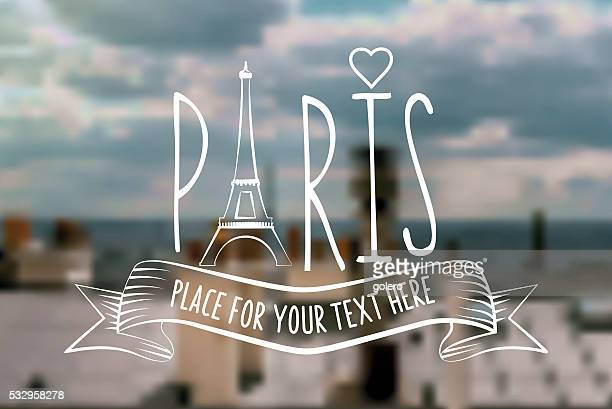 blurred Paris background with vintage line travel icon