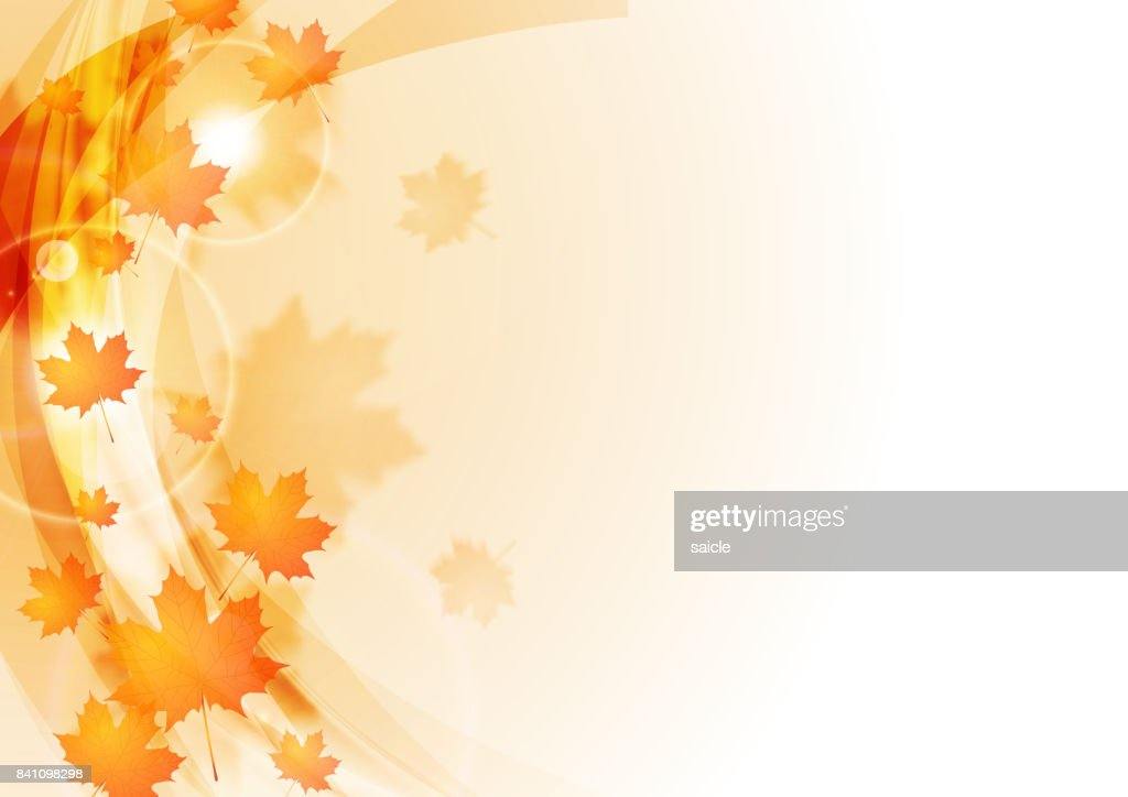 Blurred waves and maple leaves autumn background