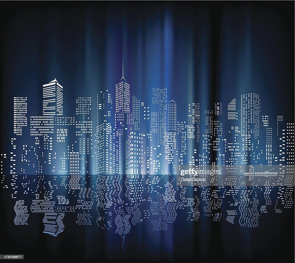 blurry city night