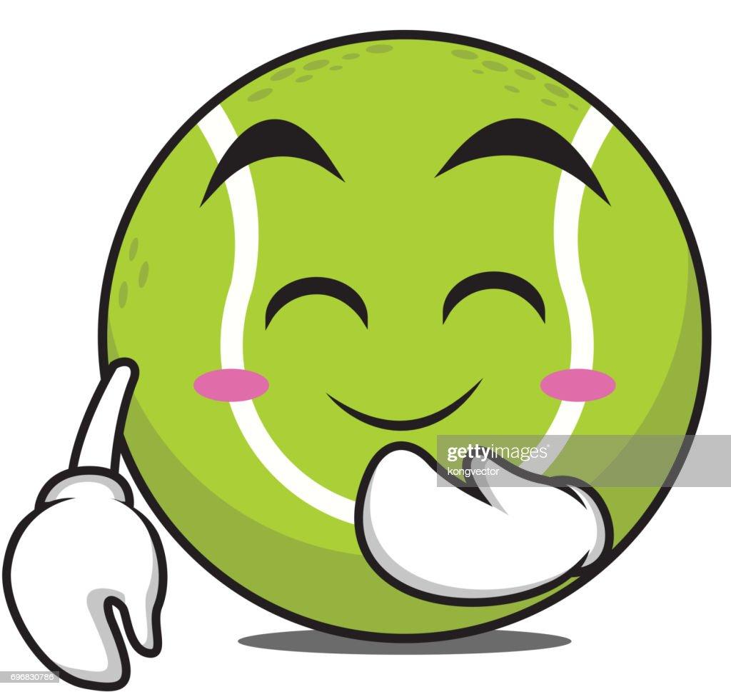Blush tennis ball cartoon character vector illustration