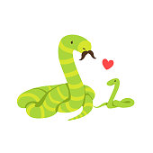 Boa Snake Dad With Moustache Animal Parent And Its
