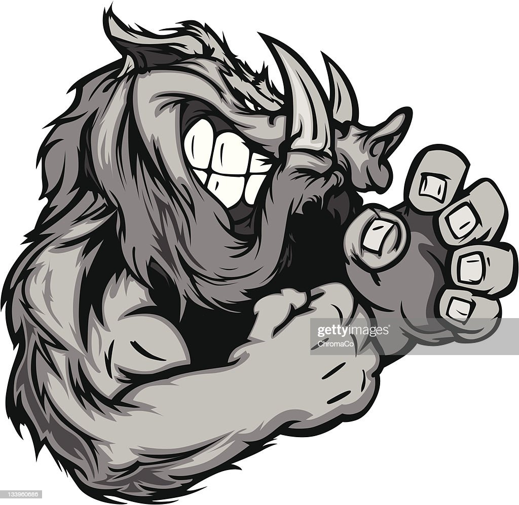 Boar or Wild Pig Mascot with Fighting Hands