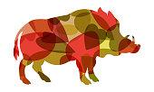Boar vector colourful