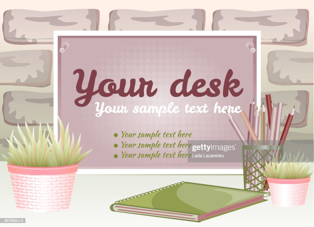 Board for text with a flower pot on a brick background