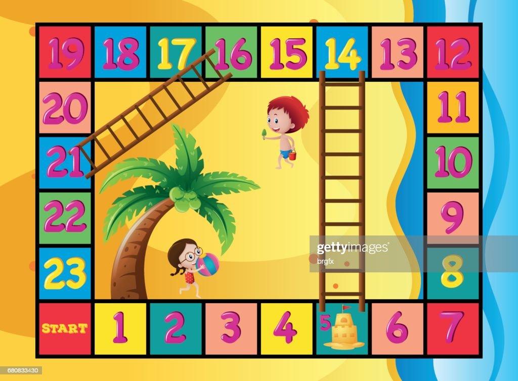 Brettspiel Vorlage Mit Kindern Am Strand Vektorgrafik Getty Images