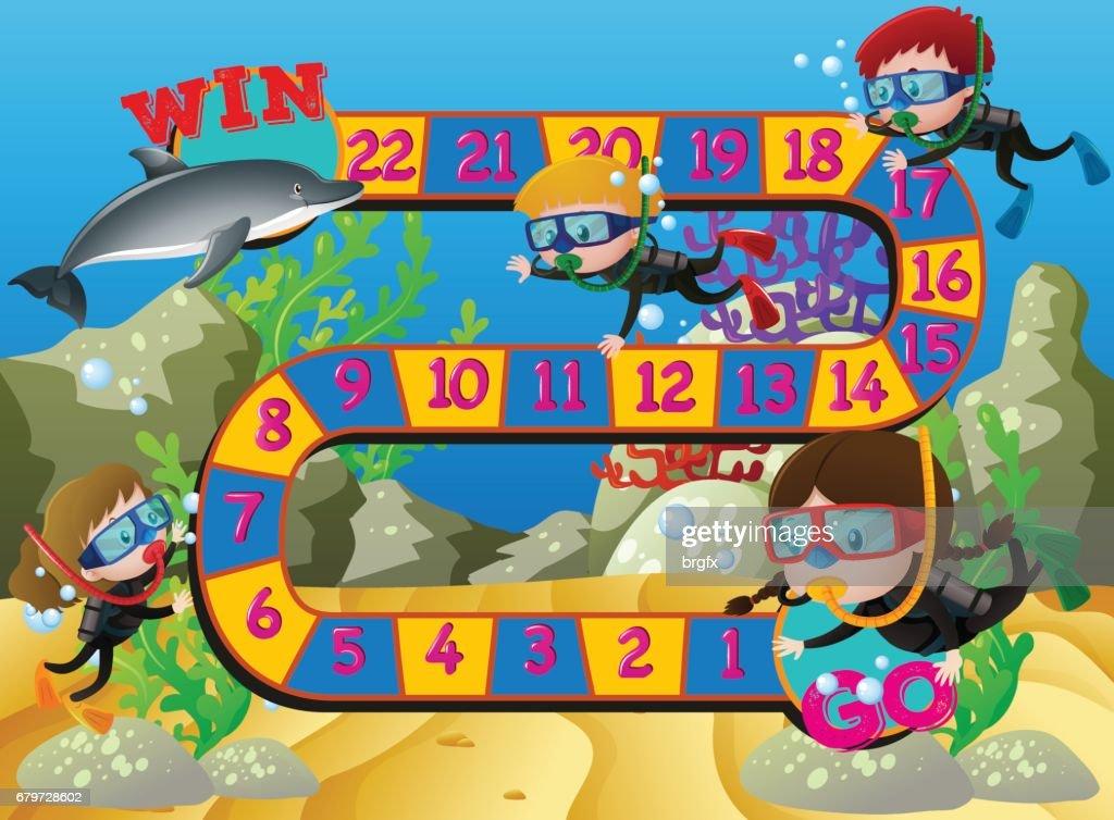 Brettspiel Vorlage Mit Kindern Schwimmen Unter Dem Meer Vektorgrafik