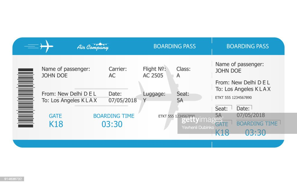 Boarding pass ticket template. Airplane ticket. online Booking airline ticket concept