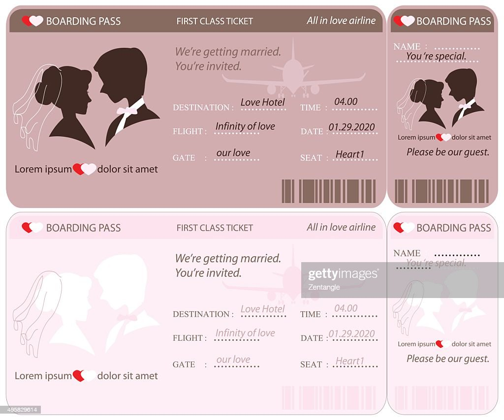 Boarding Pass Ticket Wedding Invitation Template.