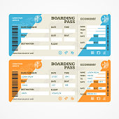 Boarding Pass Tickets Airplane Set. Vector