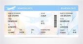 Boarding pass (ticket, traveler check template) with aircraft (airplane or plane) silhouette on background