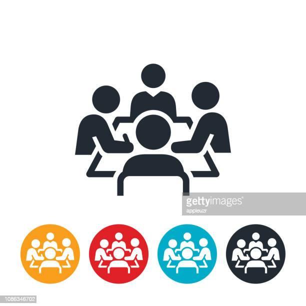 boardroom meeting icon - employee stock illustrations
