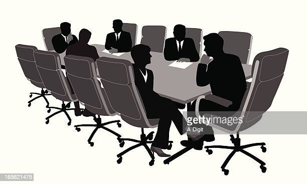 Boardroom Meeting Vector Silhouette