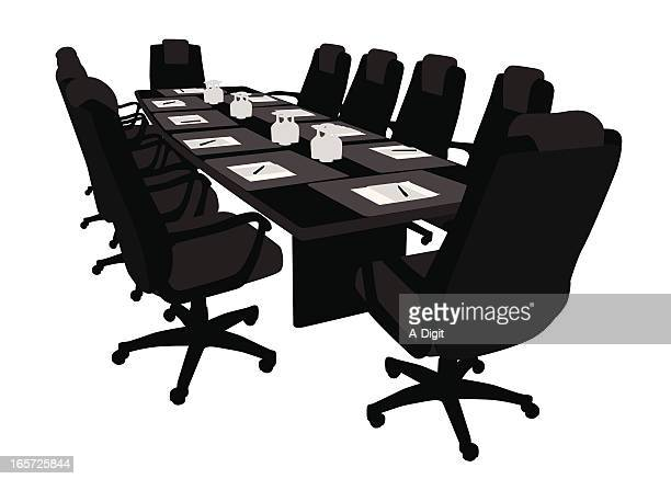 boardroom ready vector silhouette - conference table stock illustrations, clip art, cartoons, & icons