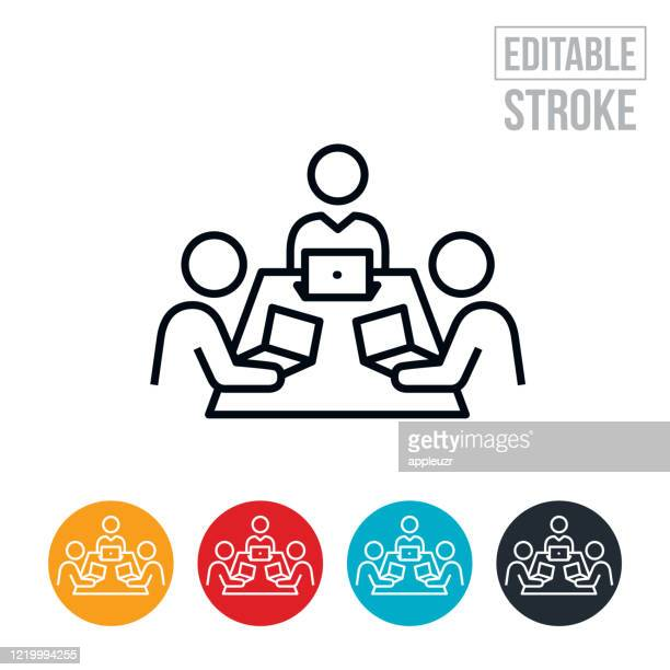 ilustraciones, imágenes clip art, dibujos animados e iconos de stock de icono de línea delgada de la sala de juntas - trazo editable - compromiso de los empleados