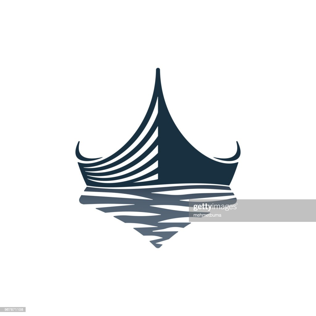 Boat and waves icon design