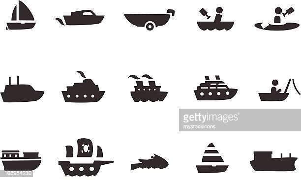boat icon set - motorboating stock illustrations, clip art, cartoons, & icons