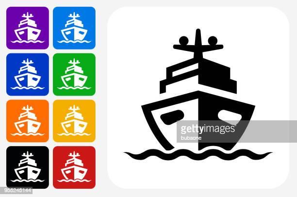 ilustraciones, imágenes clip art, dibujos animados e iconos de stock de grupo de botones de icono de barco plaza - azul marino