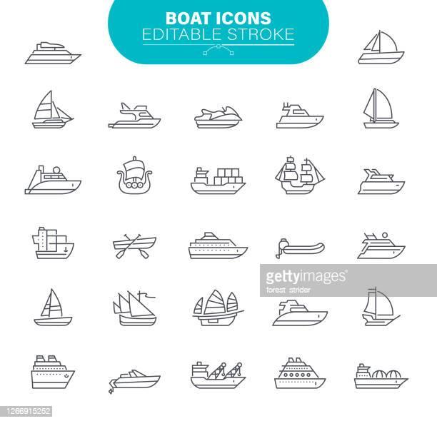 stockillustraties, clipart, cartoons en iconen met bootpictogrammen. set bevat symbool als transport; zeilboot, schip, nautisch schip - schip watervaartuig