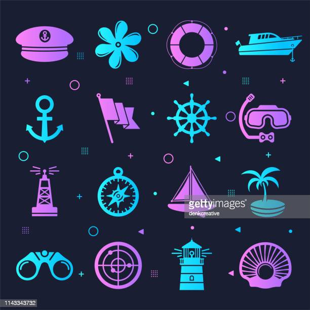 Boat Sailing & Accessories Neon Style Vector Icon Set