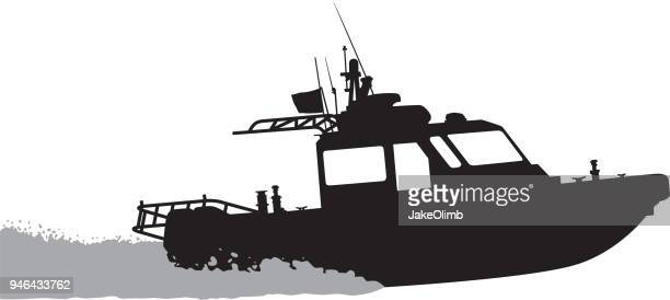 boat silhouette - motorboating stock illustrations, clip art, cartoons, & icons