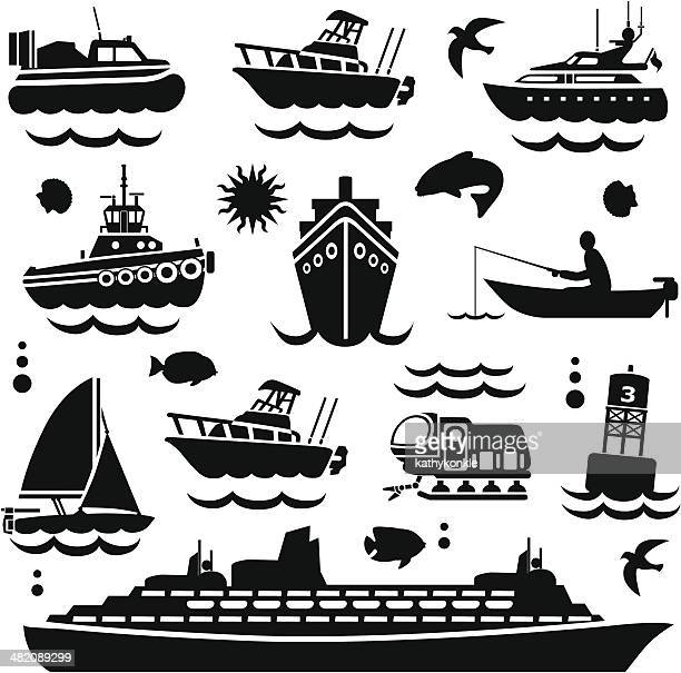 boating design elements - motorboating stock illustrations, clip art, cartoons, & icons