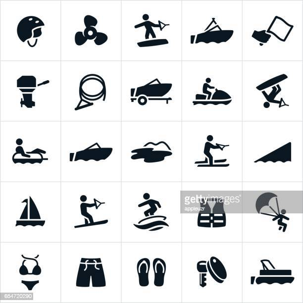 boating icons - motorboating stock illustrations, clip art, cartoons, & icons