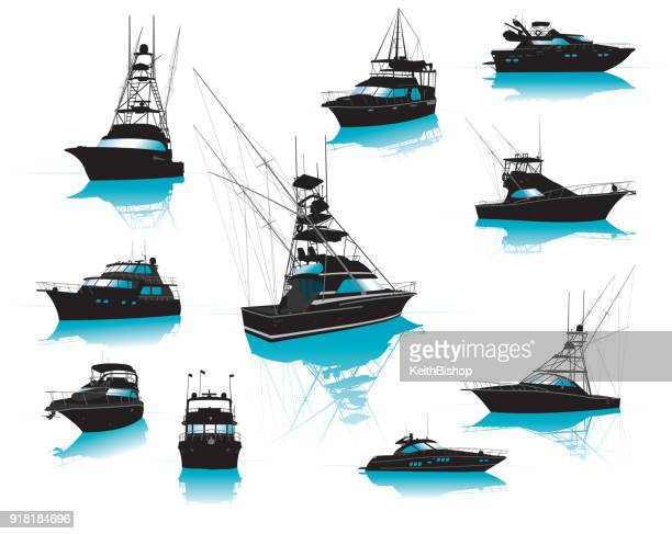 boats, fishing, charter, luxury, collection - fishing boat stock illustrations