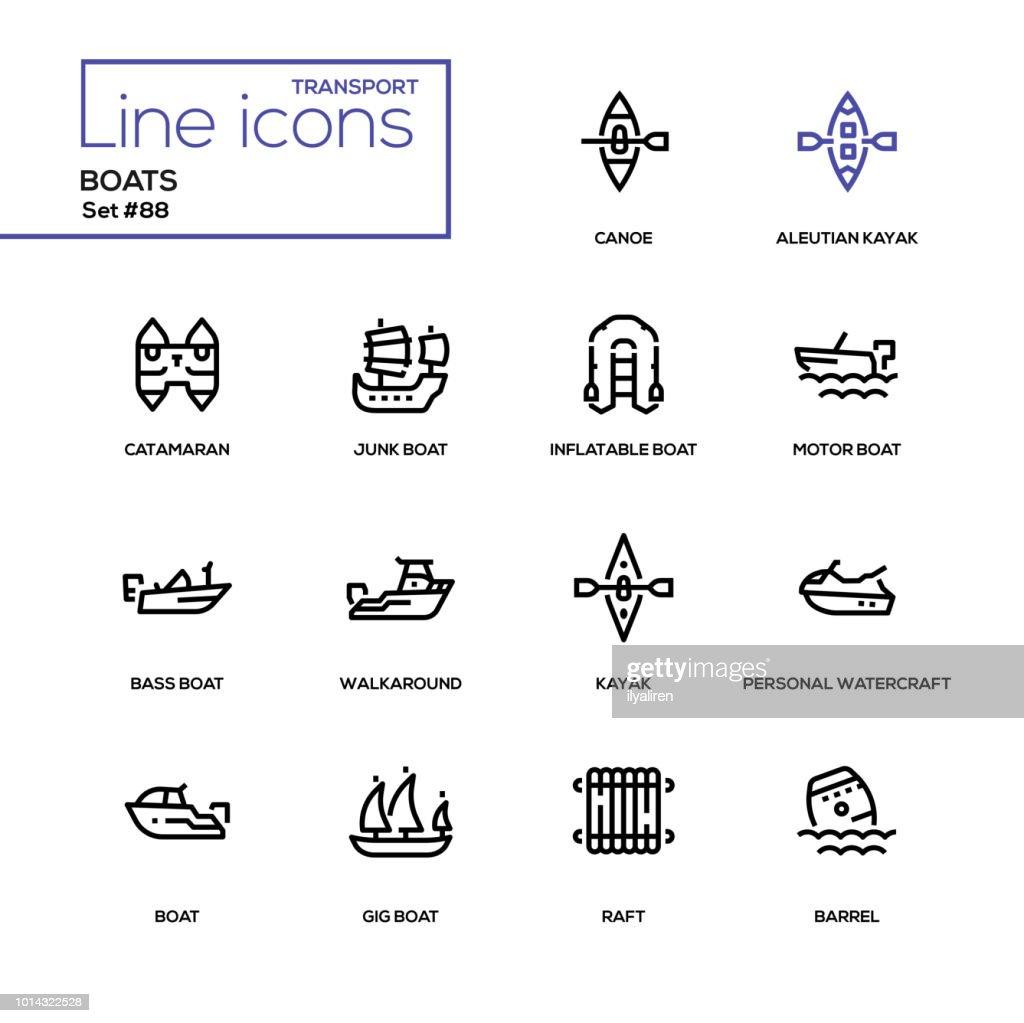 Boats - modern line design icons set