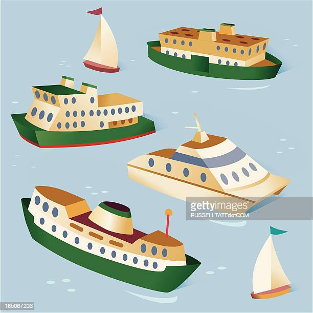 boats - ferry stock illustrations