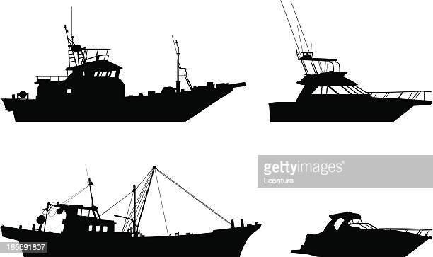 boats - fishing boat stock illustrations