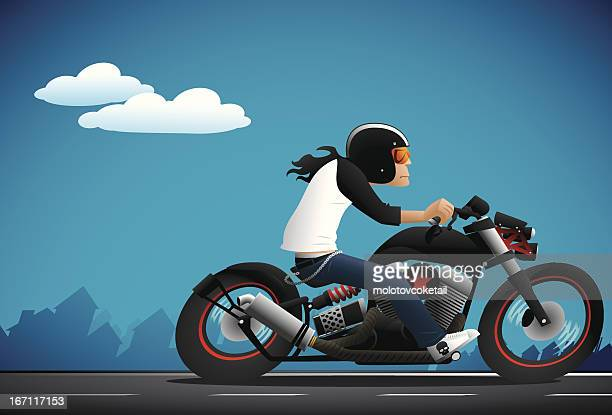 bobber fighter - motorcycle rider stock illustrations, clip art, cartoons, & icons