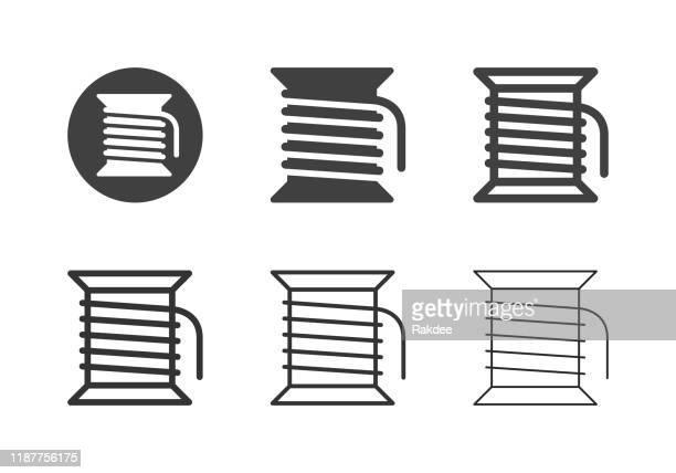 ilustrações, clipart, desenhos animados e ícones de ícones da linha de bobbin - série múltipla - rolo
