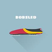 Bobsled flat concept vector illustration. Vector illustration. Winter Sport Bobsleigh.