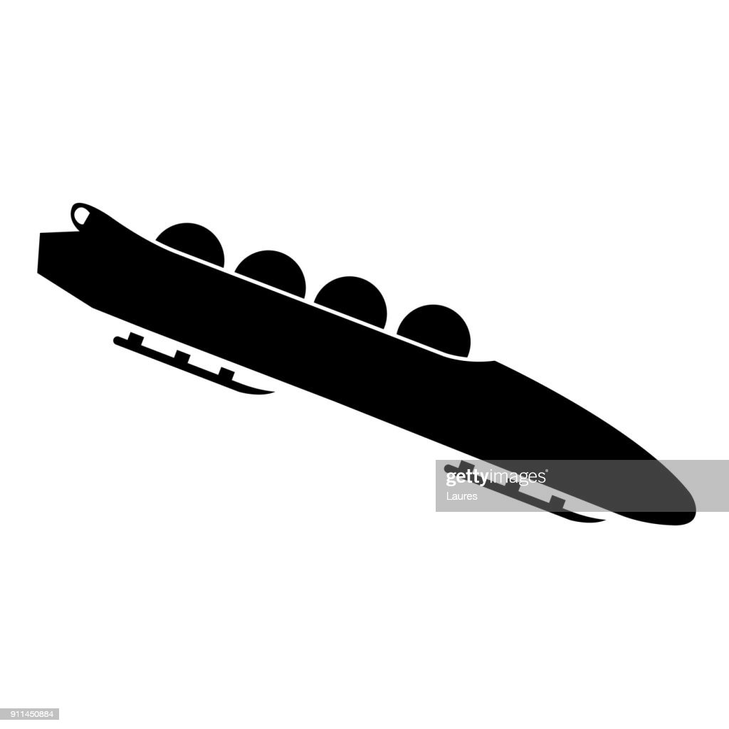 Bobsled. Teams of 4. Icon on white background