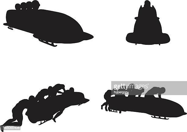 bobsleigh silhouettes - bobsleigh stock illustrations