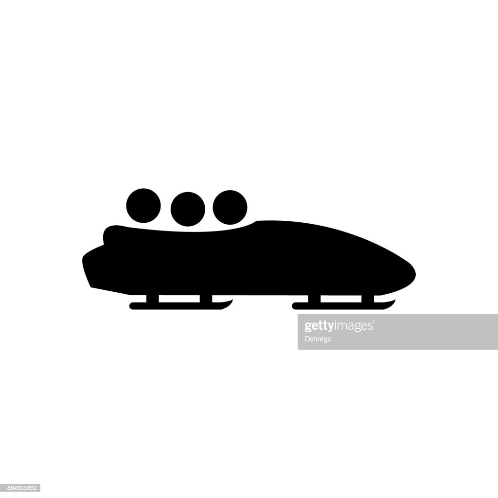Bobsleigh winter sports vector icon simple