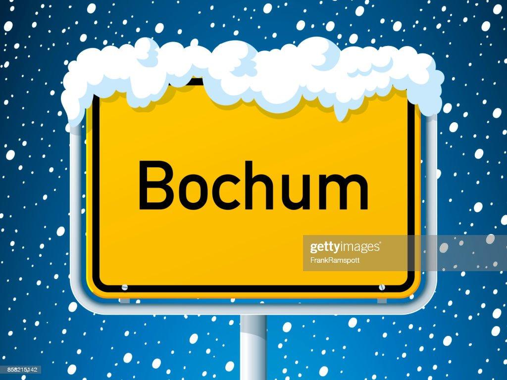 Bochum German City Road Sign Winter Snow : Stock Illustration