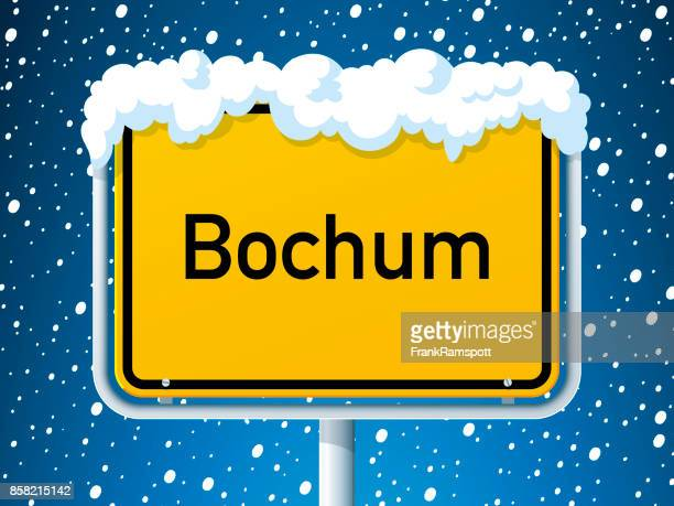 Bochum-German City Road Sign Winter Schnee