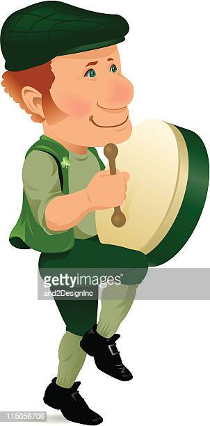 bodhran player - celtic music stock illustrations, clip art, cartoons, & icons