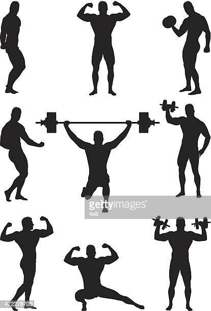body builder flexing and lifting weights - weight training stock illustrations