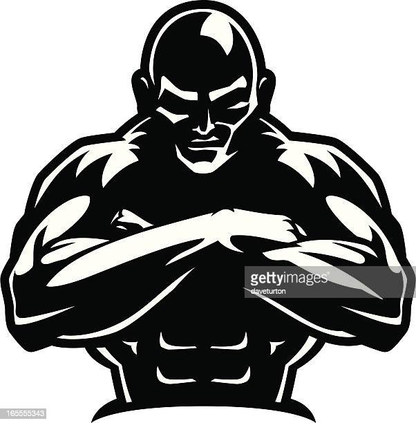 body builder guard b&w - body building stock illustrations, clip art, cartoons, & icons