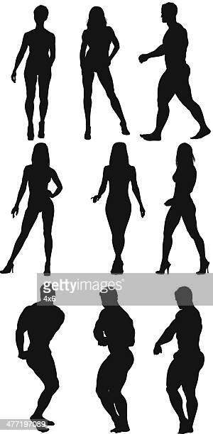 ilustraciones, imágenes clip art, dibujos animados e iconos de stock de constructores de cuerpo - entrenamiento con pesas
