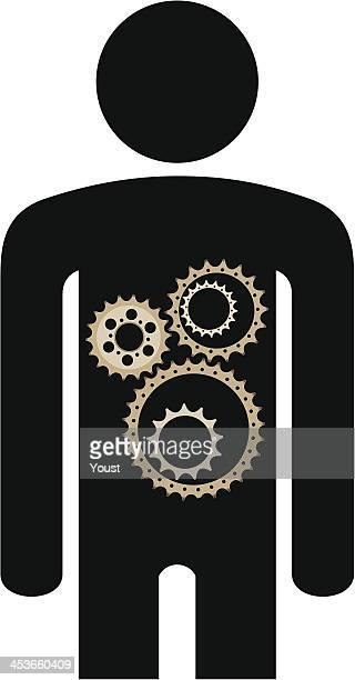 body gears - gearshift stock illustrations, clip art, cartoons, & icons