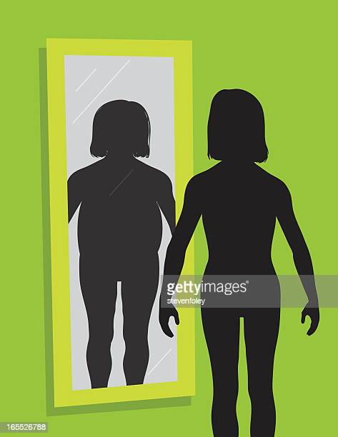 body image issue - dysmorphic disorder - body conscious stock illustrations, clip art, cartoons, & icons