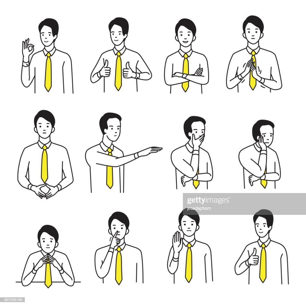 Body language hand sign set