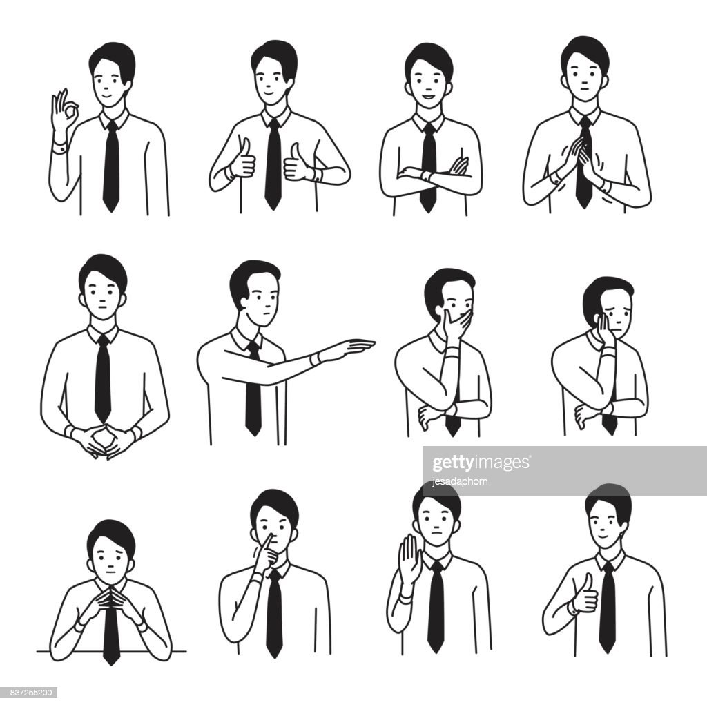 Body language hand sign set